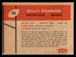1960 Fleer #66  Billy Cannon  Back Thumbnail
