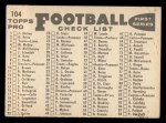 1959 Topps #104   Bears Team Checklist Back Thumbnail