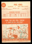 1963 Topps #52  Phil King  Back Thumbnail