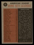 1962 Topps #53   -  Roger Maris / Mickey Mantle / Jim Gentile / Harmon Killebrew AL HR Leaders Back Thumbnail
