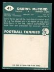1960 Topps #45  Darris McCord  Back Thumbnail