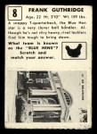 1951 Topps #8  Frank Guthridge  Back Thumbnail