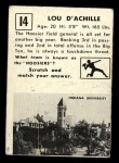 1951 Topps #14  Lou D'Achille  Back Thumbnail