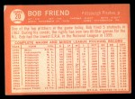 1964 Topps #20  Bob Friend  Back Thumbnail