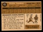 1960 Topps #95  Frank Thomas  Back Thumbnail