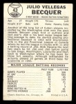 1960 Leaf #43  Julio Becquer  Back Thumbnail