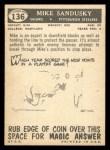 1959 Topps #136  Mike Sandusky  Back Thumbnail