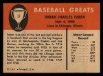 1961 Fleer #24  Red Faber  Back Thumbnail