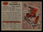 1957 Topps #110  Tom Runnels  Back Thumbnail