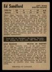 1954 Parkhurst #64  Ed Sandford  Back Thumbnail