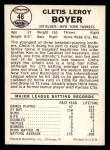 1960 Leaf #46  Clete Boyer  Back Thumbnail