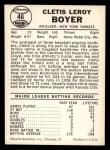 1960 Leaf #46  Clete Boyer  Back Thumbnail