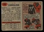 1957 Topps #79  J.C. Caroline  Back Thumbnail