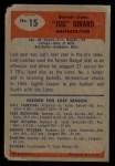 1955 Bowman #15  Earl Jug Girard  Back Thumbnail