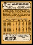 1968 Topps #473  Al Worthington  Back Thumbnail