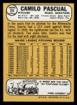 1968 Topps #395  Camilo Pascual  Back Thumbnail