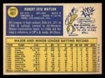 1970 Topps #407  Bob Watson  Back Thumbnail