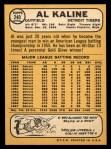 1968 Topps #240  Al Kaline  Back Thumbnail