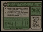 1974 Topps #542  Goose Gossage  Back Thumbnail