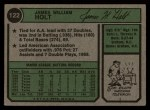 1974 Topps #122  Jim Holt  Back Thumbnail