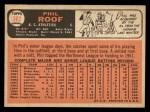 1966 Topps #382  Phil Roof  Back Thumbnail