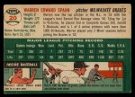 1954 Topps #20  Warren Spahn  Back Thumbnail