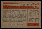 1954 Bowman #82 ALL Billy Goodman  Back Thumbnail