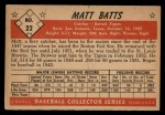 1953 Bowman B&W #22  Matt Batts  Back Thumbnail