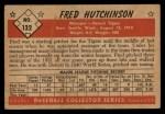 1953 Bowman #132  Fred Hutchinson  Back Thumbnail