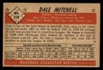 1953 Bowman #119  Dale Mitchell  Back Thumbnail