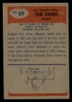 1955 Bowman #69  Tom Dahms  Back Thumbnail