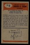 1955 Bowman #5  Lindon Crow  Back Thumbnail
