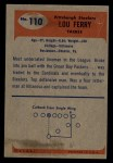 1955 Bowman #110  Lou Ferry  Back Thumbnail