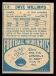 1968 Topps #218  Dave Williams  Back Thumbnail