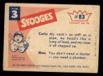 1959 Fleer Three Stooges #83   Is There Doctor in the House  Back Thumbnail