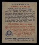 1949 Bowman #220  Johnny McCarthy  Back Thumbnail
