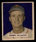 1949 Bowman #220  Johnny McCarthy  Front Thumbnail