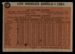 1962 Topps #132 A  Angels Team Back Thumbnail