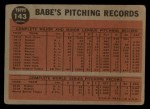 1962 Topps #143 A  -  Babe Ruth Greatest Sports Hero Back Thumbnail