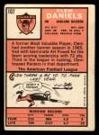 1966 Topps #107  Clem Daniels  Back Thumbnail