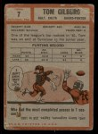 1962 Topps #7  Tom Gilburg  Back Thumbnail