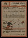 1962 Topps #118  Clarence Peaks  Back Thumbnail