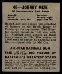 1949 Leaf #46  Johnny Mize  Back Thumbnail