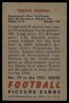 1951 Bowman #19  Travis Tidwell  Back Thumbnail