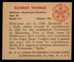 1950 Bowman #31  George Thomas  Back Thumbnail