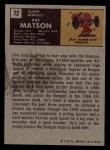 1971 Topps #72  Pat Matson  Back Thumbnail
