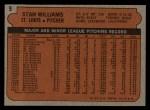 1972 Topps #9  Stan Williams  Back Thumbnail