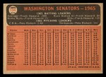 1966 Topps #194   Senators Team Back Thumbnail