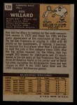 1971 Topps #129  Ken Willard  Back Thumbnail