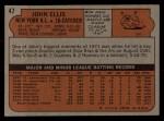 1972 Topps #47  John Ellis  Back Thumbnail